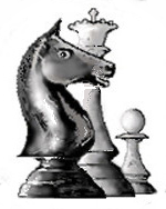 CCLA server chess logo, knight, queen and pawn chess piece group in computer screen on https://www.serverchess.com
