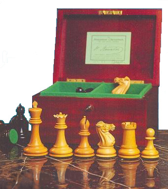 color photo of official Staunton pattern chess pieces