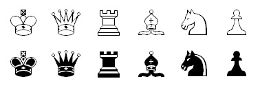 Picture of chess font used in chess diagrams